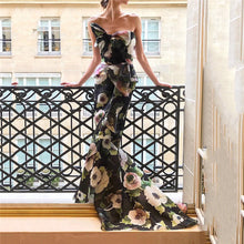 Sexy Printed Bowknot Fishtail Tight Evening Dress