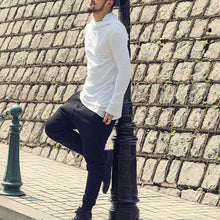Hooded Pile Collar Casual Men's Plain Long-Sleeved T-Shirt
