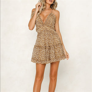 V-Neck Sleeveless Printed Sweet Zipper Halter Dress