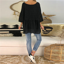 Daily Life V Collar Solid Color Lace Hollow Loose Top