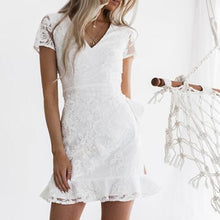 Sexy Perspective V-Neck Lace-Up Short-Sleeved Bag Hip Ruffle Dress