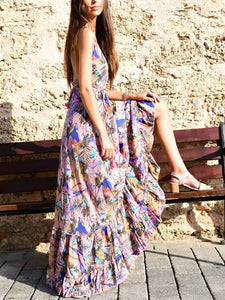 Holiday Beach Europe And America Without Back Bohemian Print Dress