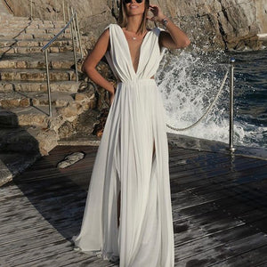 Chiffon Dress Deep V Sleeveless Slim Maxi Dress