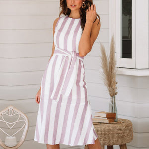 Casual Sleeveless Cotton And Linen Strip Skater Dress