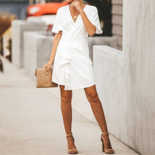 Sexy V-Collar Short Sleeve Dress