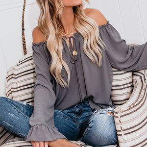 Fashion Flare Sleeve Solid Color Loose Chiffon Blouse