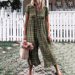 Printed And Dyed Single-Breasted   Loose Jumpsuit