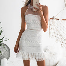 Water Soluble Hook Flower Sleeveless High Neck Sexy Bag Hip Lace Dress