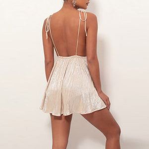 Fashion Laced Backless V-Neck   Slim Dress