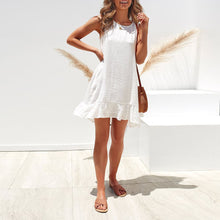 Fashion Solid Color Round Neck   Sleeveless Ruffled Loose Dress