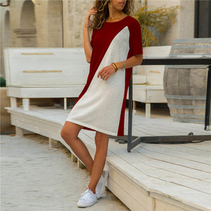 Casual Round Neck Split Joint Short Sleeves Shift Dress