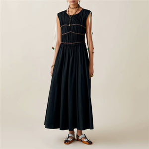 Fashion Round Neck Solid Color Wrinkle Strappy Maxi Dress