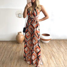 Slim Plaid Printed V-Neck Sleeveless Lace-Up Wide Leg Straight Jumpsuit