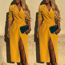 Fashion Lapel Waistband Solid Color Loose Split Coat Dress