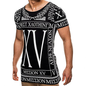 Men's Casual Printed Sports T-Shirt Thin Slim Fashion Top