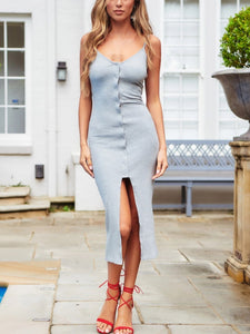 Sexy Sling Solid Color Split Dress