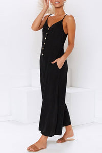 Vintage Seastylish Loose Button-Down Strapless Jumpsuit