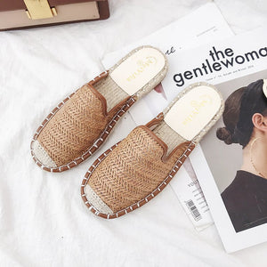 2019 Summer New Baotou Slippers Breathable Beef Tendon Bottom Half Flat Shoes