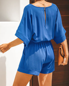 Solid Color Belt V-Neck Short-Sleeved Jumpsuit