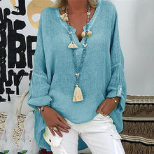 Casual V-Neck Loose Solid Color Shirt Top