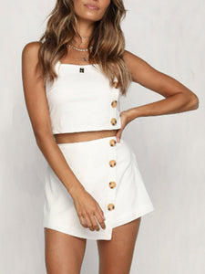 Fashion Personality Button Sling   Short Top Shorts Set