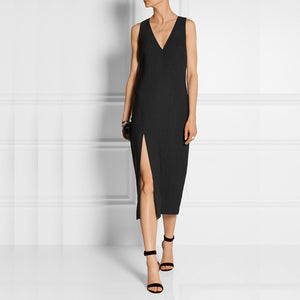 V-Neck Sleeveless Split Sexy Black Dress
