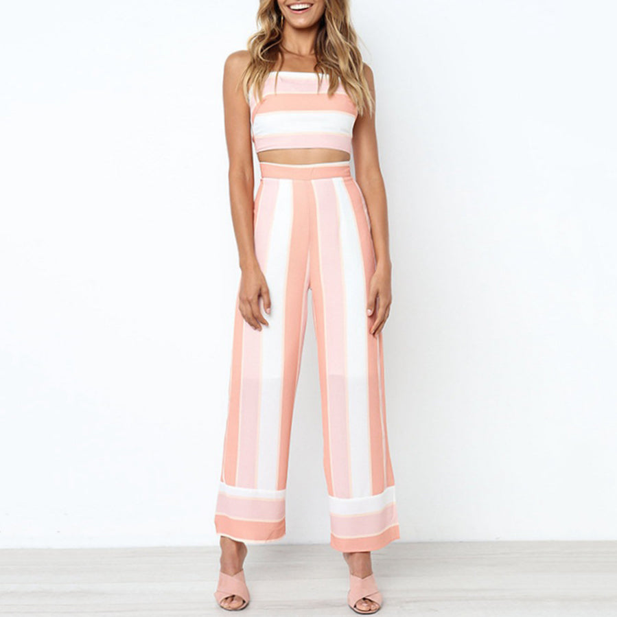 Fashion Stripe Print Set Sling Wrapped Chest Sexy Backless Straight Pants Two-Piece Suit
