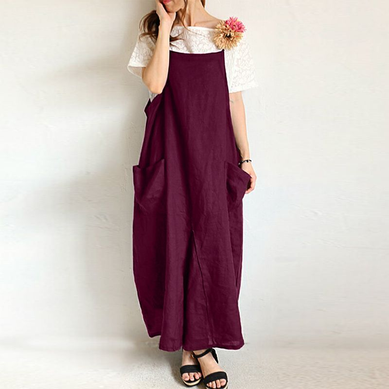 Casual Fashion Sling Cotton And Linen Loose Dress