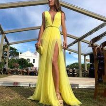 Deep V Sleeveless Split Slim Maxi Dress