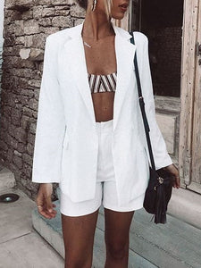Fashion Simple Suit Shorts   Two-Piece Suit