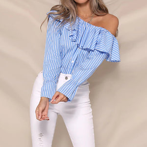 Fashion Casual Wild Ruffled   Long-Sleeved Top