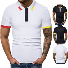 Men's Fashion Casual Color Matching Short-Sleeved Slim Lapel T-Shirt