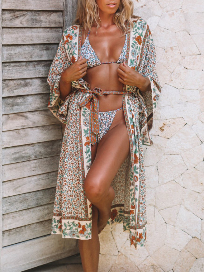 Printed Sunscreen Cardigan Beach   Bikini Blouse