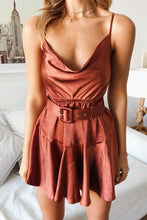 Solid Color Sling Ruffled Mini Dress(Video)