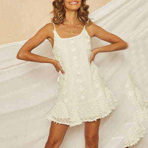 Sexy Sling Ruffled Stitching   Mini Dress(Video)