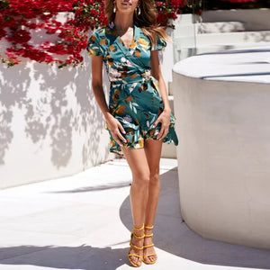 Sexy V-Neck Short-Sleeved   Printed Mini Dress