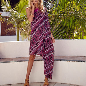 Bohemian Off-The-Shoulder Print Dress