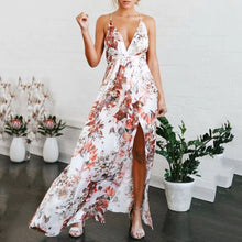 Fashion Printed Lace-Up Backless Sling Beach Dress