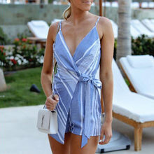 Fashion Strap Blue Stripe Print   Jumpsuit