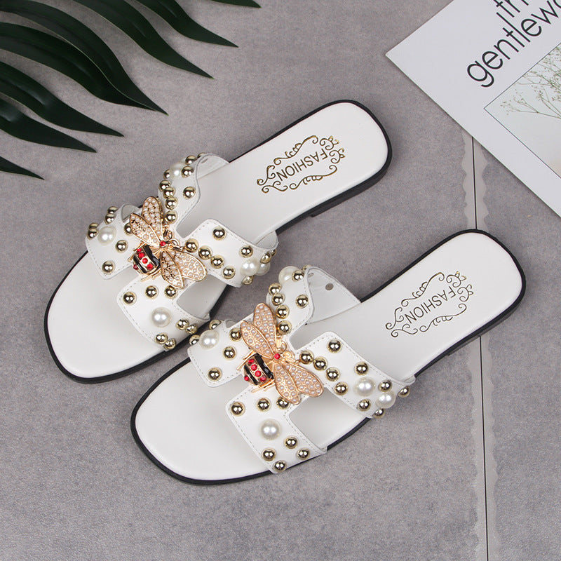 Fashion Pearl Female Summer Flat Sandals And Slippers