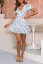 V Neck Blue Leopard Print Ruffle Hem Mini Dress