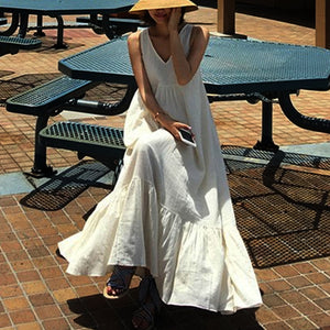 Sleeveless Loose Back Strap Casual Ruffled Dress