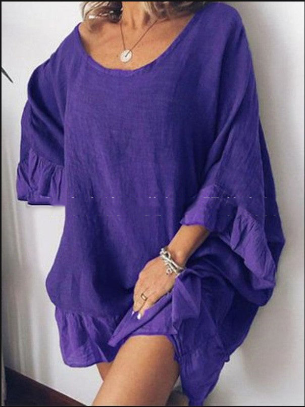 Slim Big U-Neck Loose Trumpet Sleeves