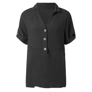 Button Solid Color Fashion Shirt