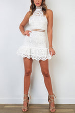 Halter Neck Embroidered Trimming Frill Lace Mini Dress