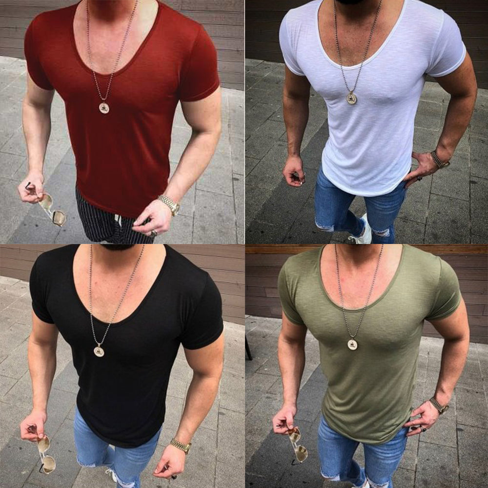 Summer Fitness Short Sleeve Stretch Cotton Men's Casual Tight Running T-Shirt