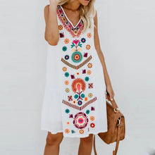 Sleeveless V-Neck Featuring Ethnic Printed Dress