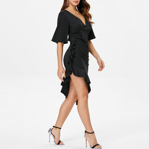 Fashion Short Sleeved Deep V   Ruffled Fishtail Dress