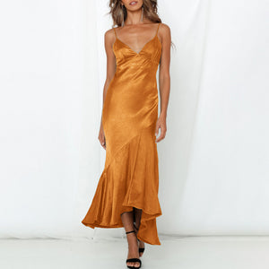 Sexy Sleeveless Sling Waist Slim   Dress