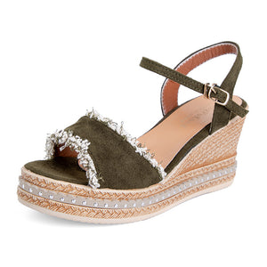 Fish Mouth Solid Color Buckle Sandals